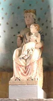 Fontevivo - Chiesa dell'Abazia di S.Bernardo con la statua della Madonna attribuita all'Antelami