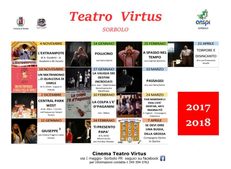 Stagione 2017-2018 al teatro Virtus di Sorbolo