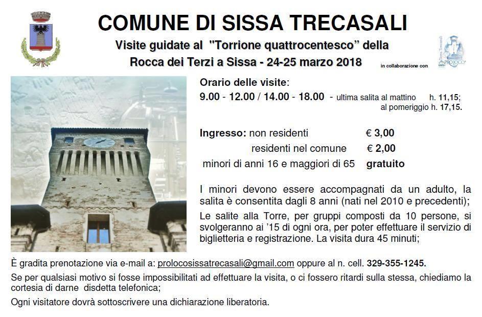Visita guidata al Torrione quattrocentesco della Rocca dei Terzi, a Sissa in occasione della festa
