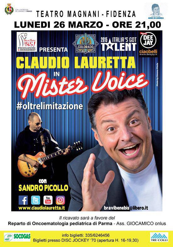 Al Teatro Magnani Spettacolo benefico del comico di Claudio Lauretta