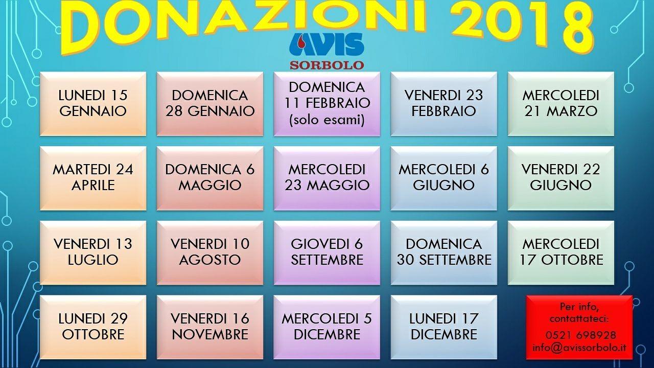 Calendario 2018 donazioni AVIS Sorbolo