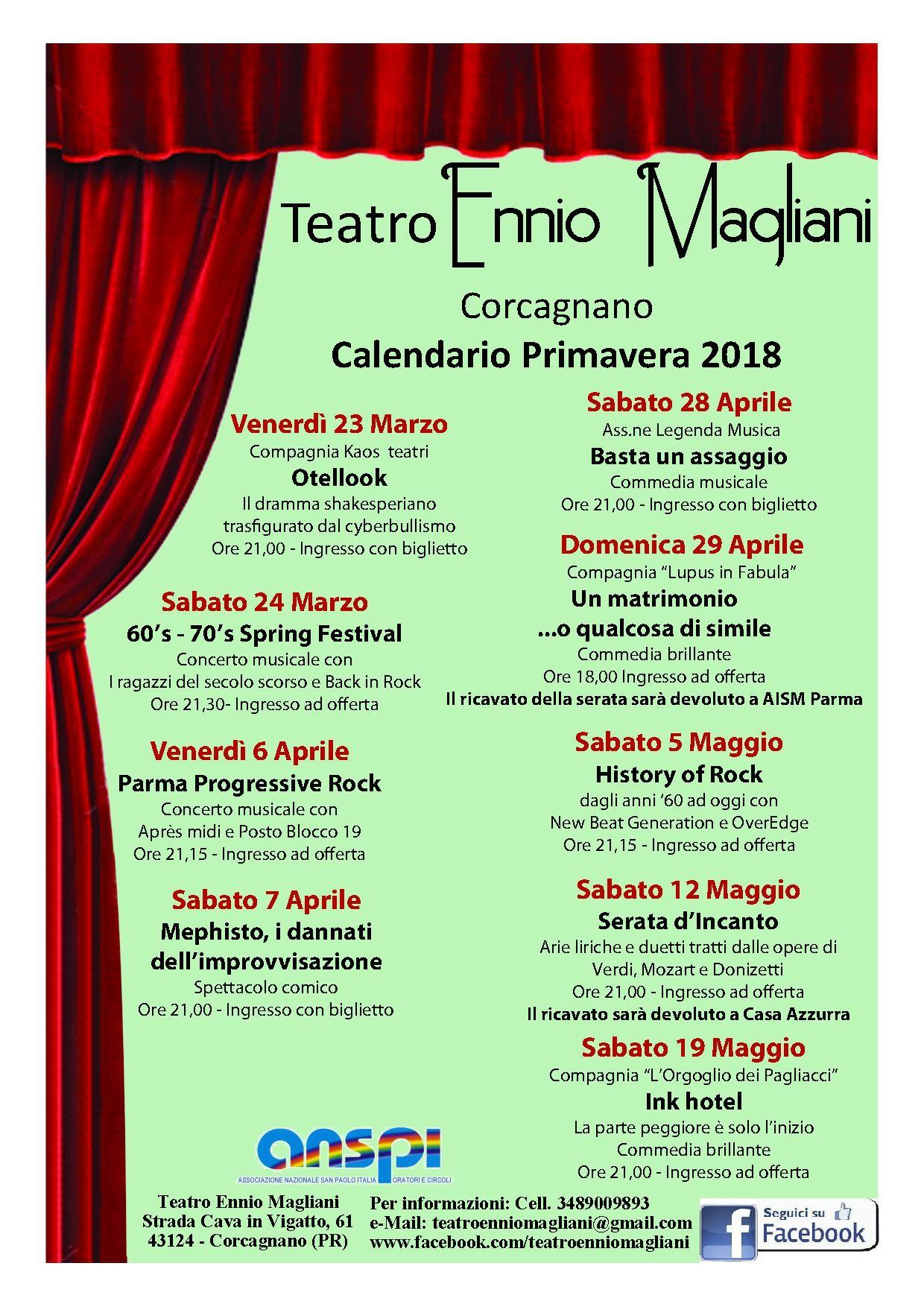 Calendario primavera 2018 del Teatro Ennio Magliani