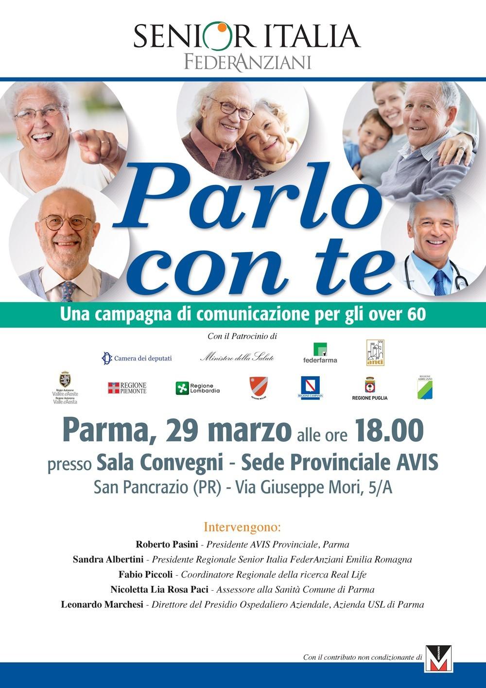 Parlo con te Il 29 marzo un convegno dedicato agli over 60 presso la sede Avis di San Pancrazio