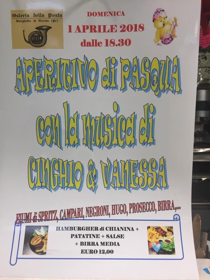 All' Osteria della Posta l' ApeRitiVo di PASQUA con la musica di CINGHIO & VANESSA