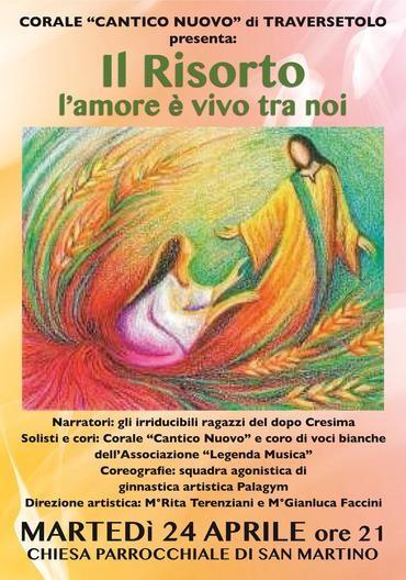 """Il Risorto: oltre il dolore e la Croce  Un'opera rock vibrante e commovente, interpretato dalla """"Corale Cantico Nuovo"""