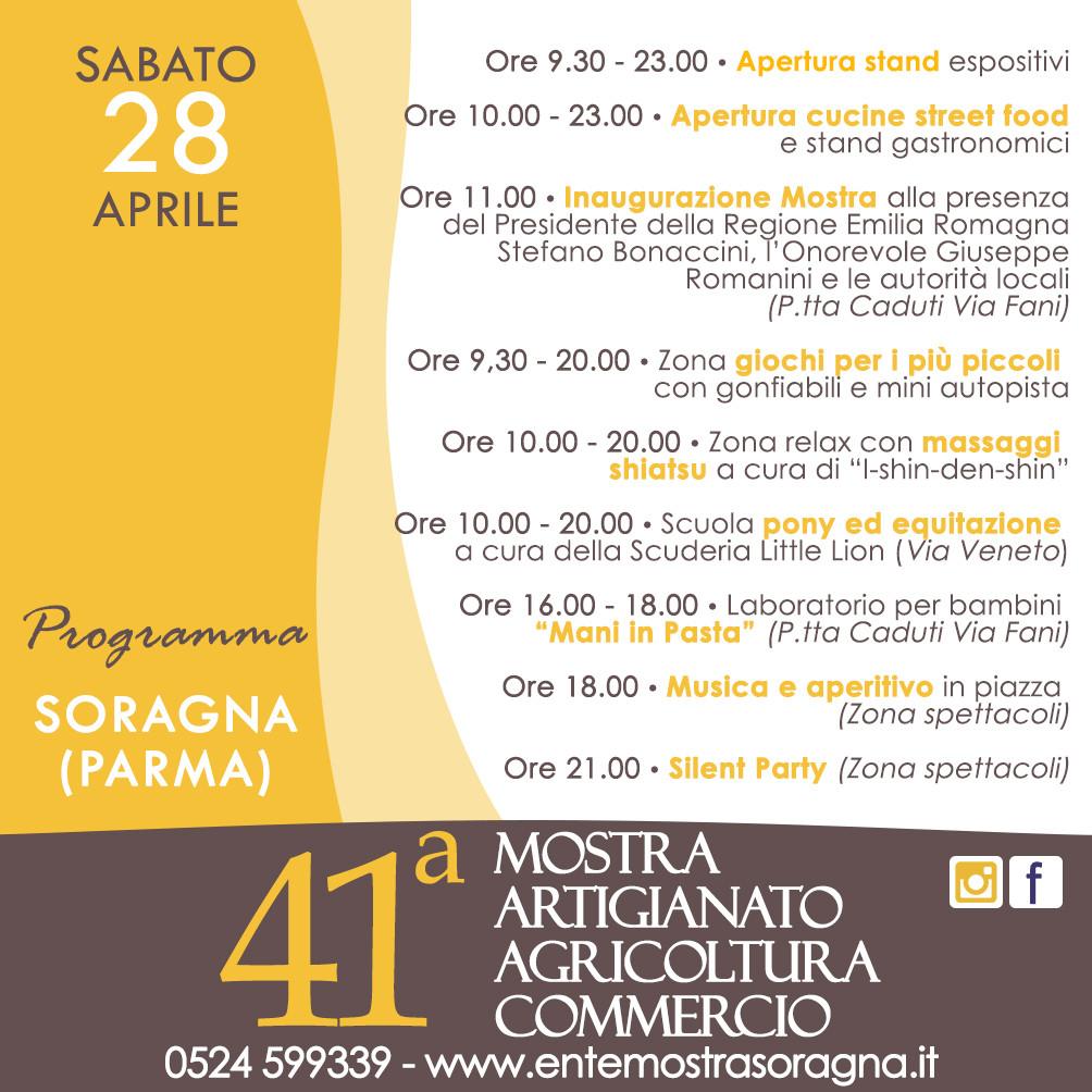 41a Mostra dell'Artigianato, Agricoltura e Commercio a Soragna, programma del 28 aprile