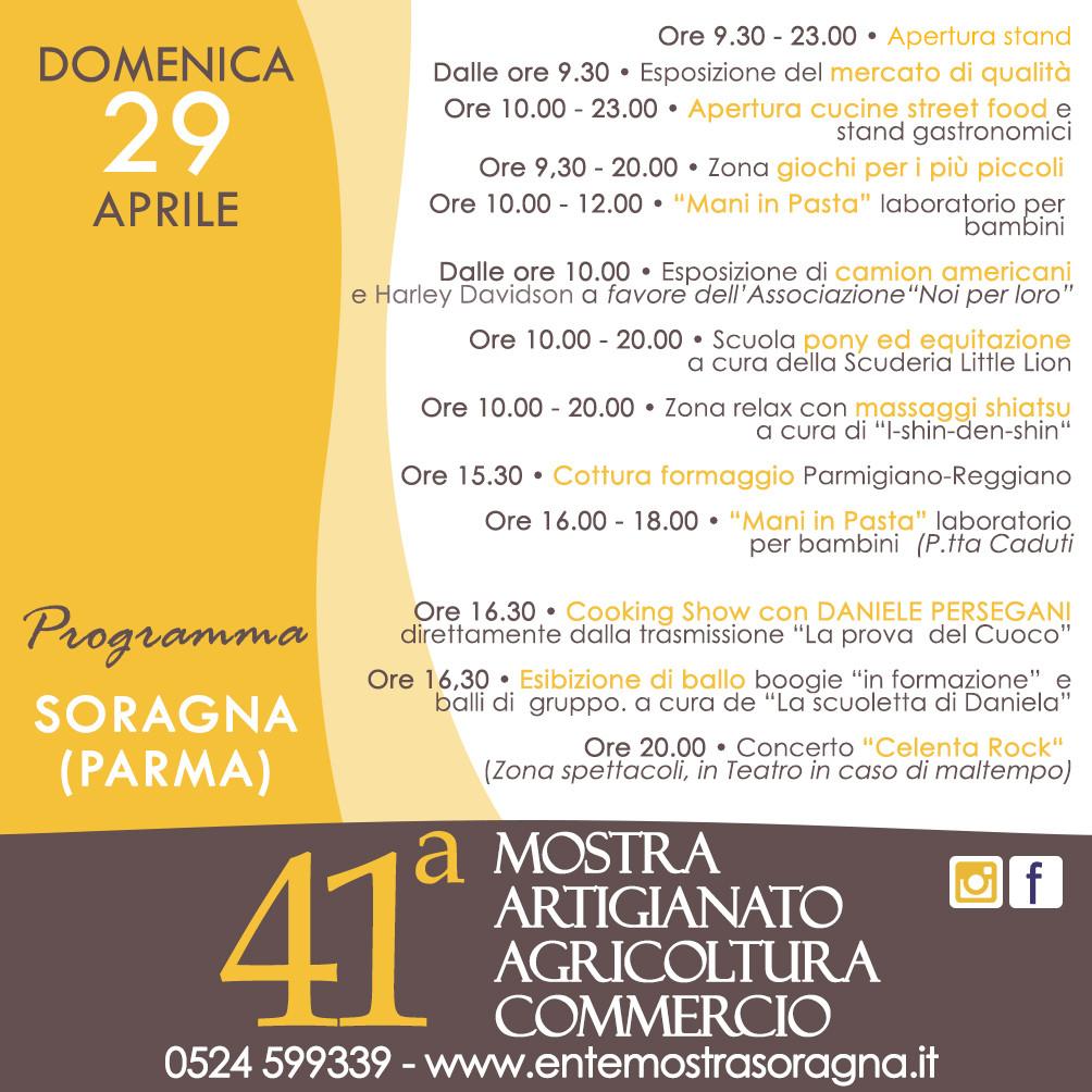 41a Mostra dell'Artigianato, Agricoltura e Commercio a Soragna, programma del 29 aprile