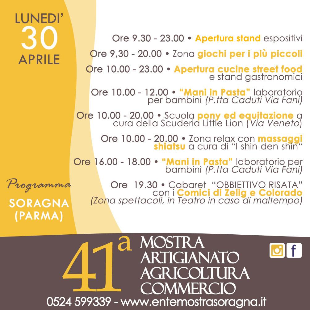 41a Mostra dell'Artigianato, Agricoltura e Commercio a Soragna, programma del 30 aprile