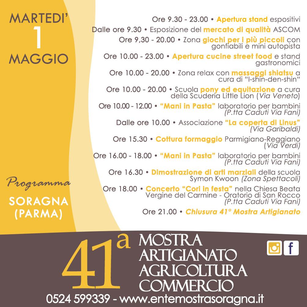 41a Mostra dell'Artigianato, Agricoltura e Commercio a Soragna, programma del 1° maggio