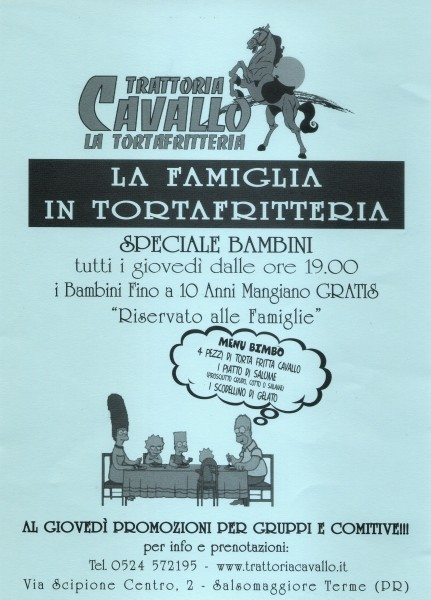 Al giovedì promozioni famiglie e gruppi alla Trattoria Cavallo
