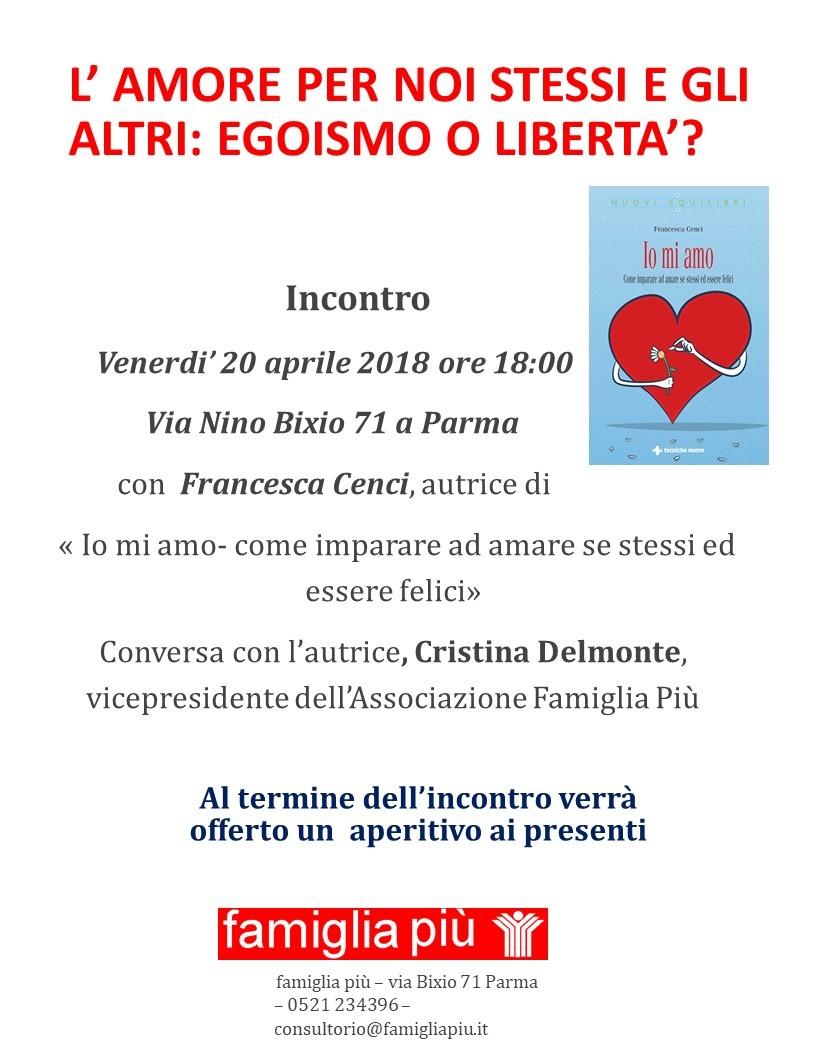 """Incontro con Francesca Cenci, autrice di """" Io mi amo- come imparare ad amare se stessi ed essere felici""""."""