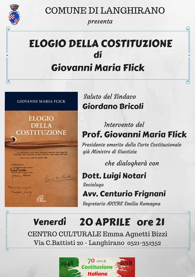 Doppio appuntamento a Langhirano con il Prof. Giovanni Maria Flick, Presidente emerito della Corte Costituzionale, già Ministro di Giustizia