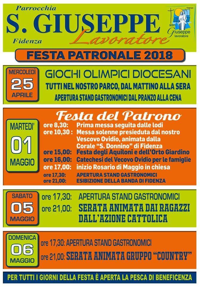 San Giuseppe Lavoratore Fidenza Festa patronale 2018