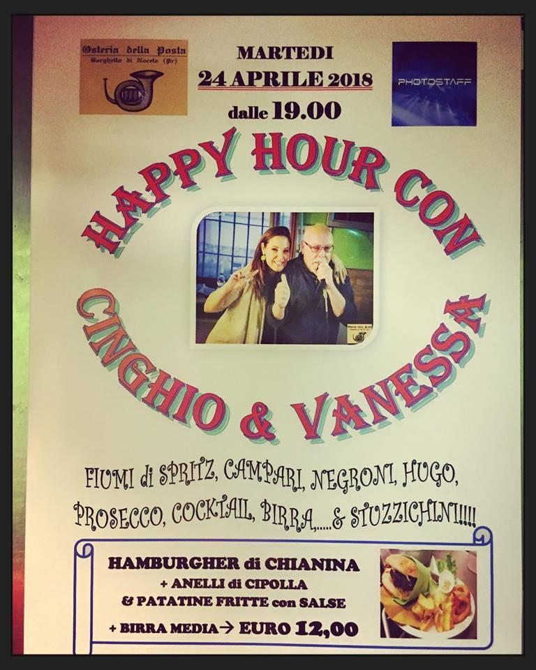 HAPPY HOUR con la musica  CINGHIO & VANESSA e cena con gli HAMBURGER del BORGHETTO all'Osteria della Posta a Borghetto
