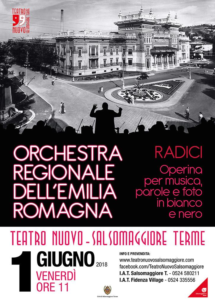 Radici Operina per musica, parole e foto in bianco e nero con l'Orchestra Regionale dell'Emilia Romagna