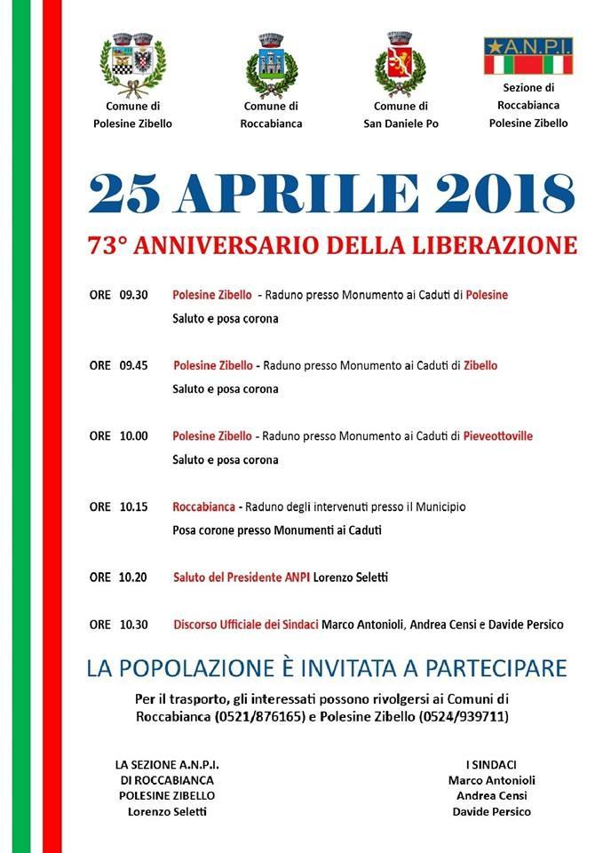 25 APRILE 2018 nei comuni di Polesine Zibello e Roccabianca