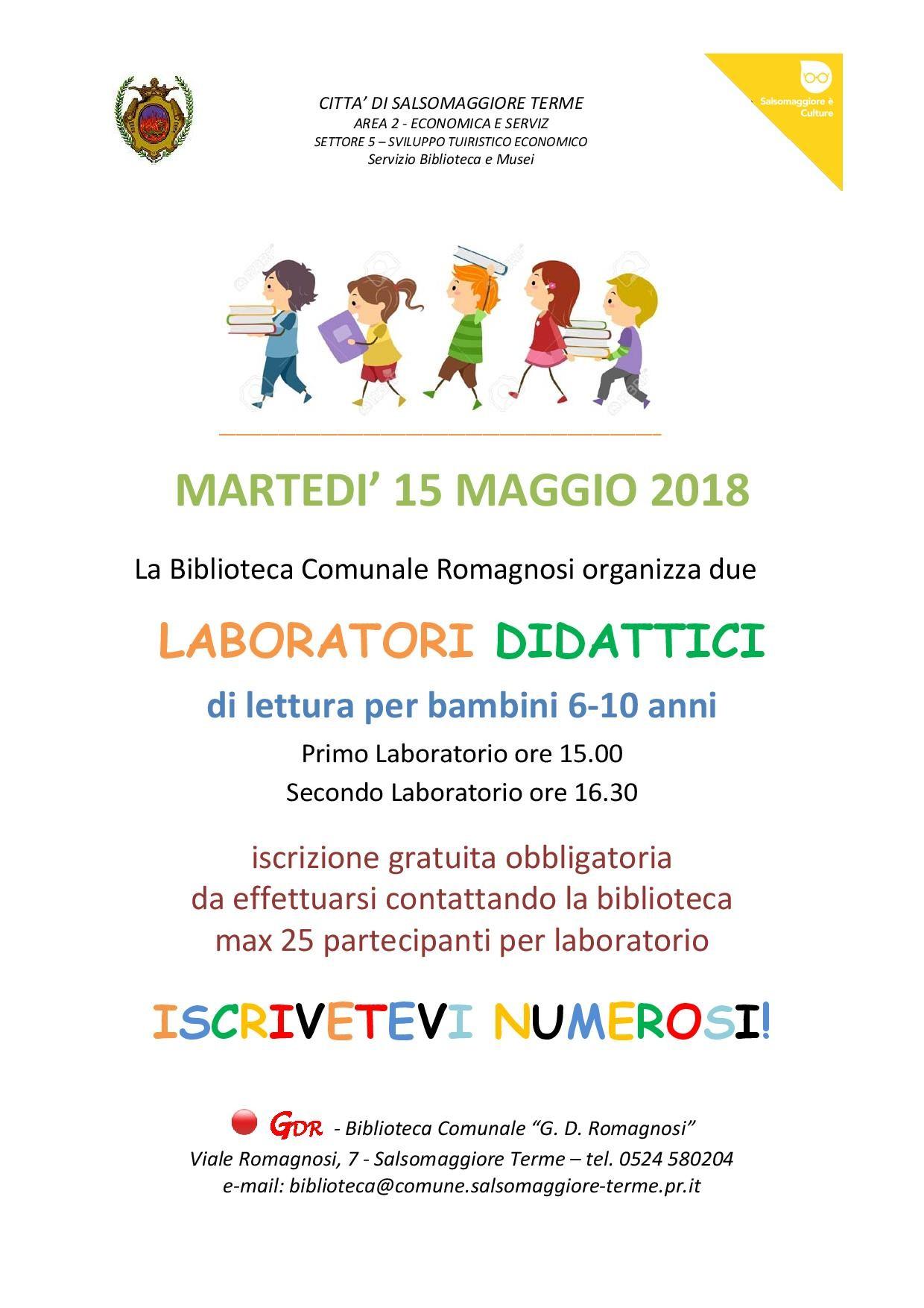 La Civica Biblioteca Romagnosi ha organizzato due laboratori didattici di lettura per bambini