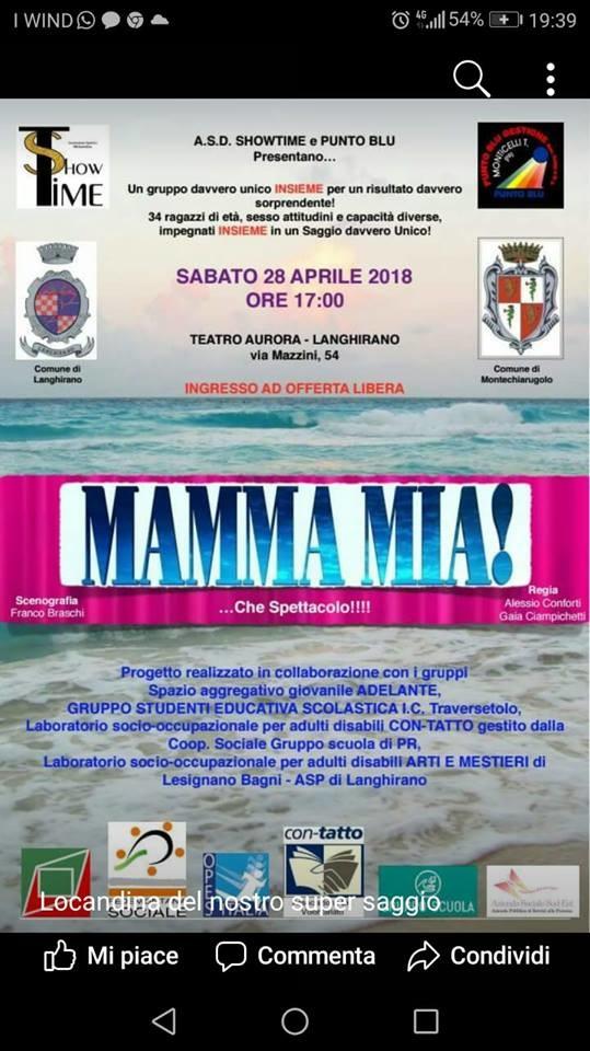 """Al Teatro Aurora di Langhirano """"Mamma mia"""""""