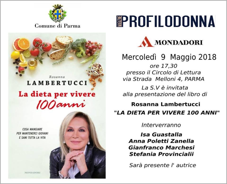 """Rosanna Lambertucci presenta """"La dieta per vivere 100 anni"""" al Circolo di Lettura"""