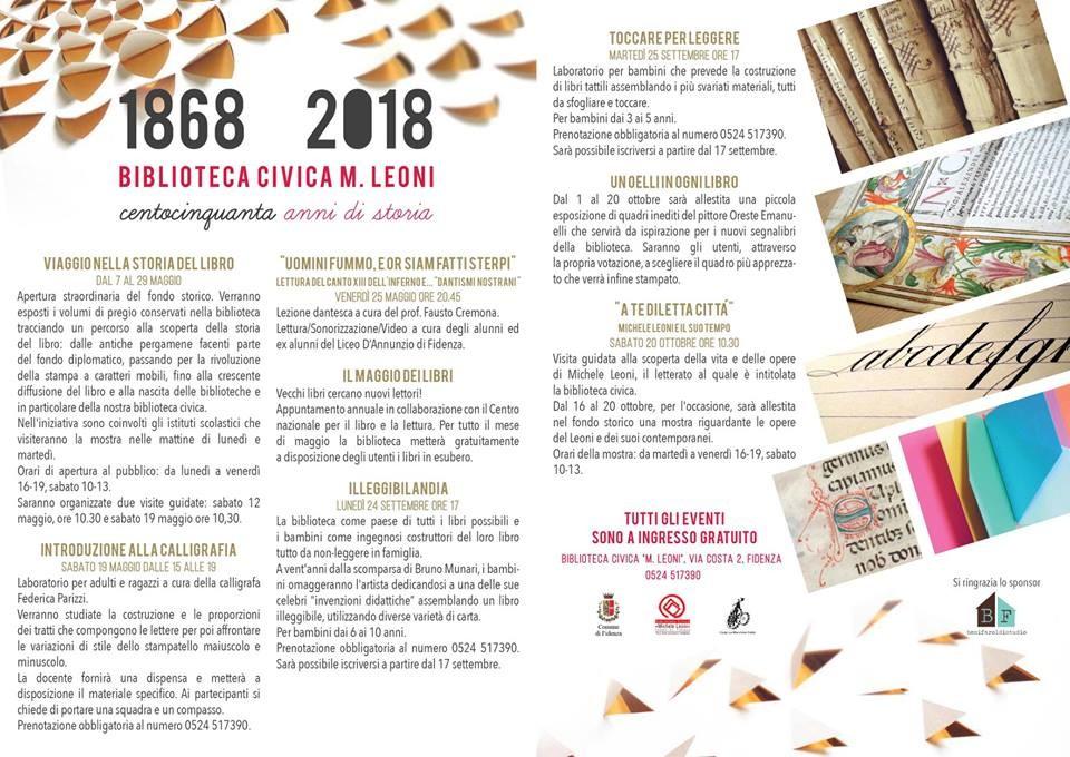 """La Biblioteca Civica """"Michele Leoni"""" festeggia 150 anni di attività"""