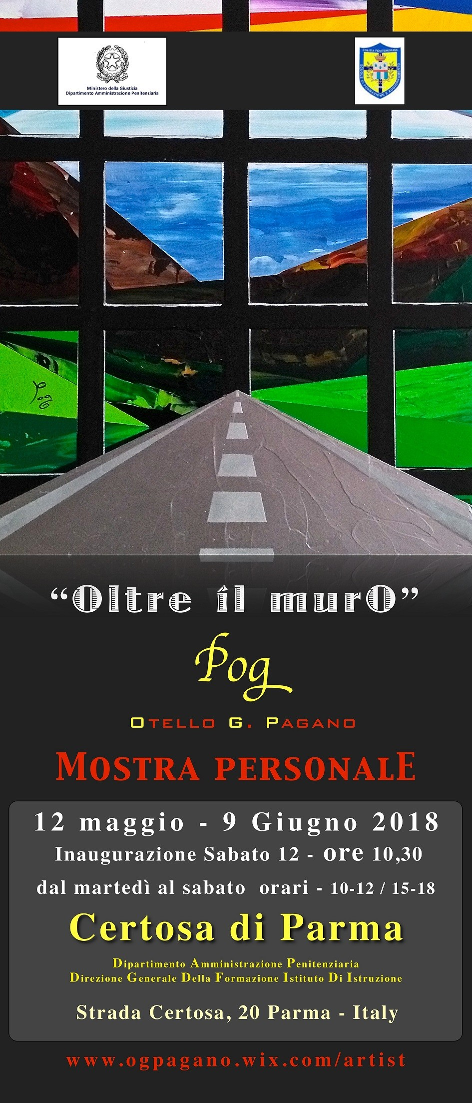"""Il pittore Pagano, in arte Pog, esporrà presso la Certosa di  Parma con la sua personale """"Oltre il muro"""""""