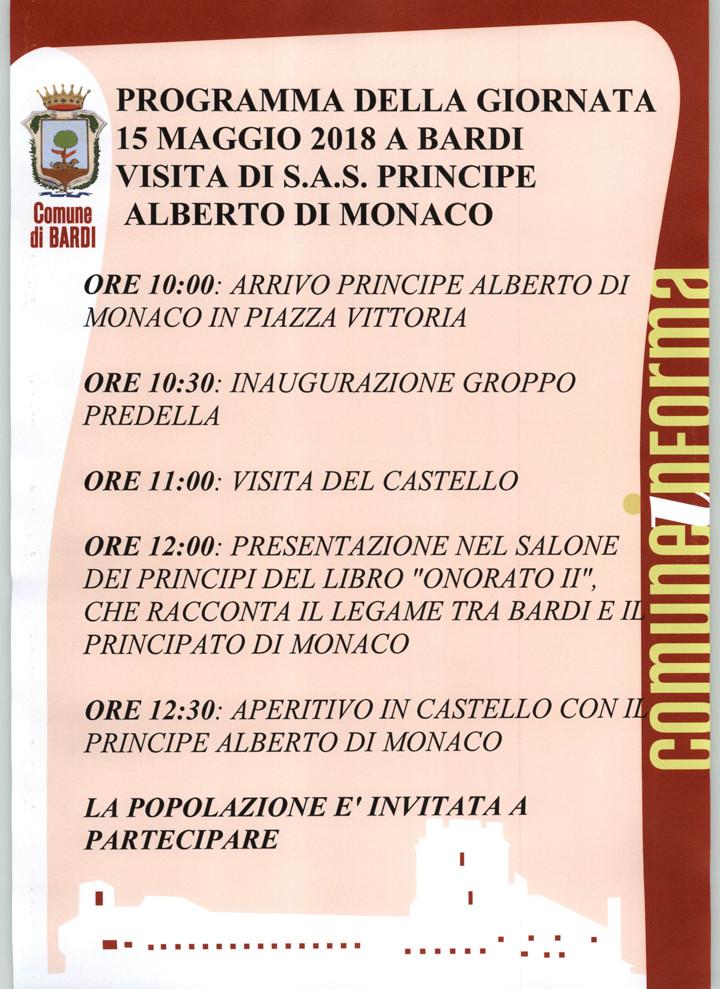 Il 15 Maggio il comune di Bardi avrà l'onore di ospitare il Principe Alberto di Monaco