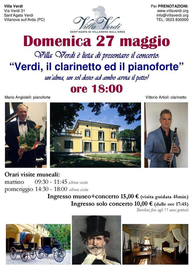 """""""Verdi, il clarinetto ed il pianoforte""""   concerto a Villa Verdi"""