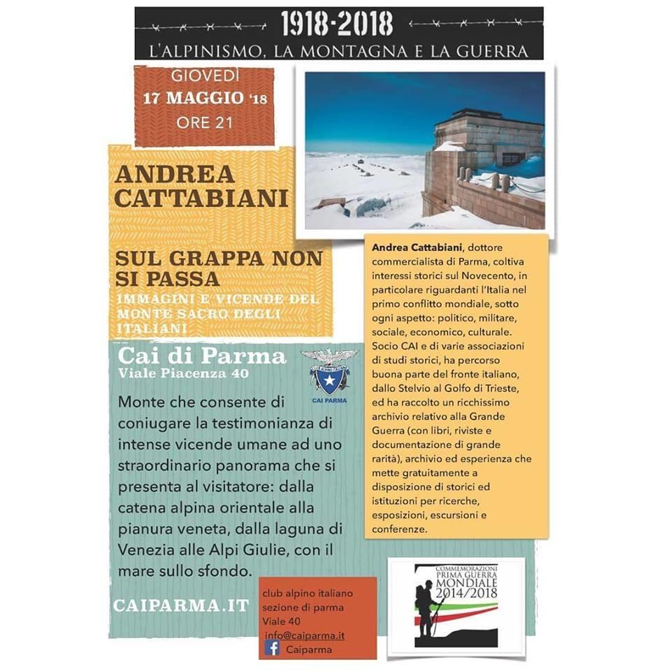 """Giovedì 17 maggio Andrea Cattabiani interverrà alla rassegna """"1918-2018 L'alpinismo, la montagna e la guerra""""."""