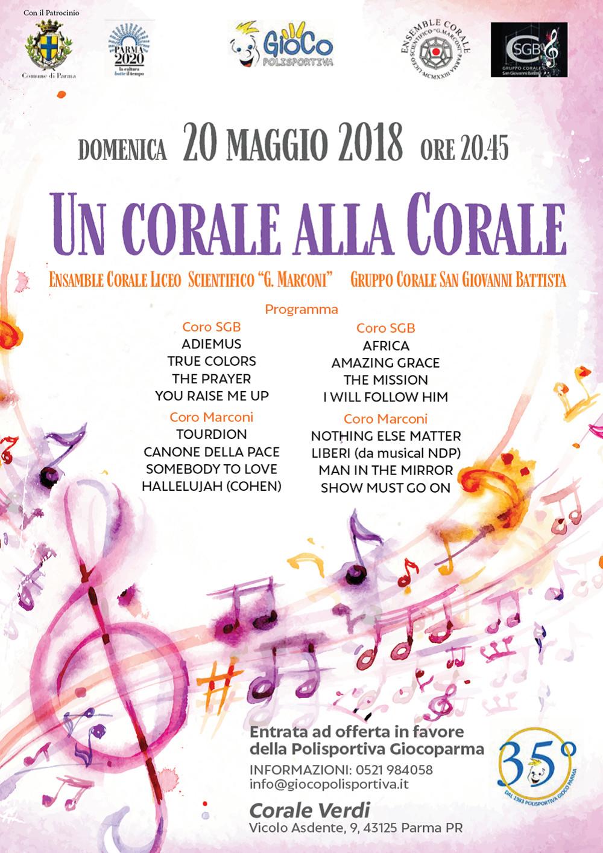 Un corale alla corale Il 20 maggio un concerto di cori a favore della Polisportiva Gioco