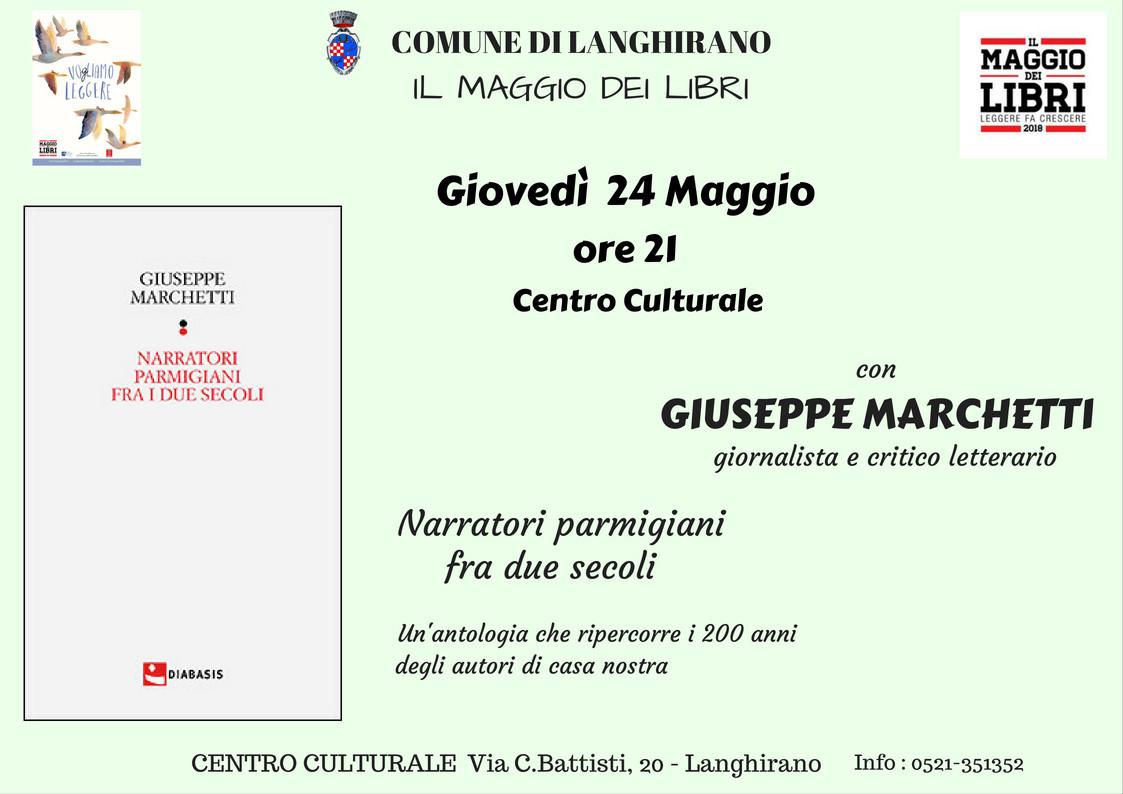 """A """"Il Maggio dei libri"""" a Langhirano GIUSEPPE MARCHETTI"""