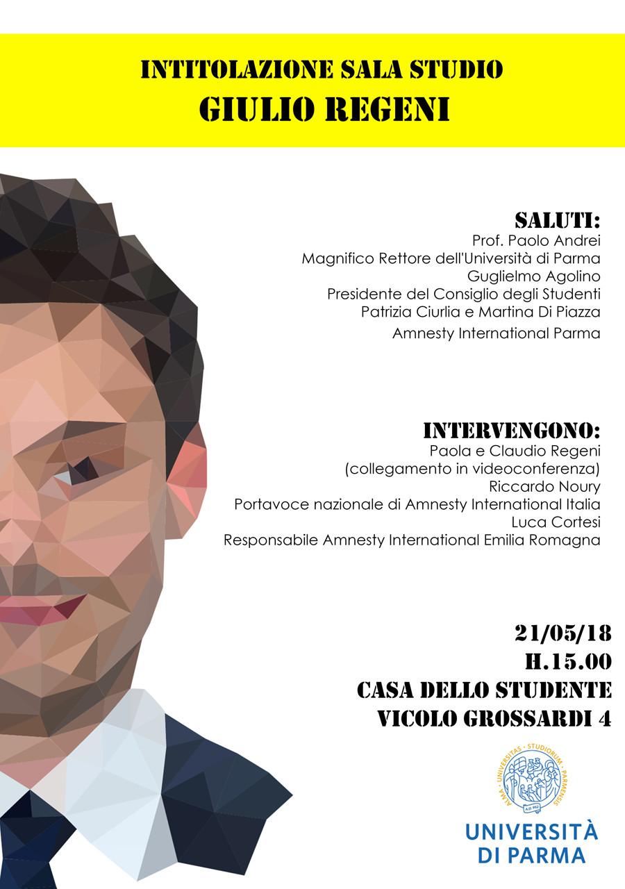 L'UNIVERSITÀ DI PARMA INTITOLA A GIULIO REGENI LA SALA STUDIO IN VICOLO GROSSARDI