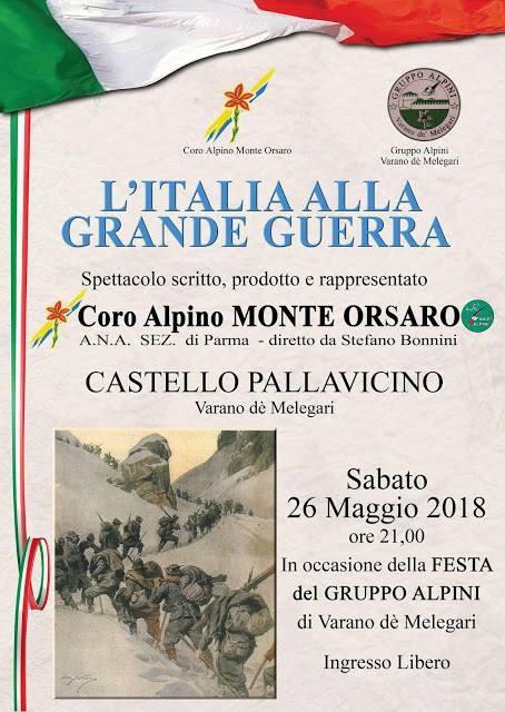 """""""L'italia alla grande guerra"""" spettacolo del Coro Alpino Monte Orsaro"""