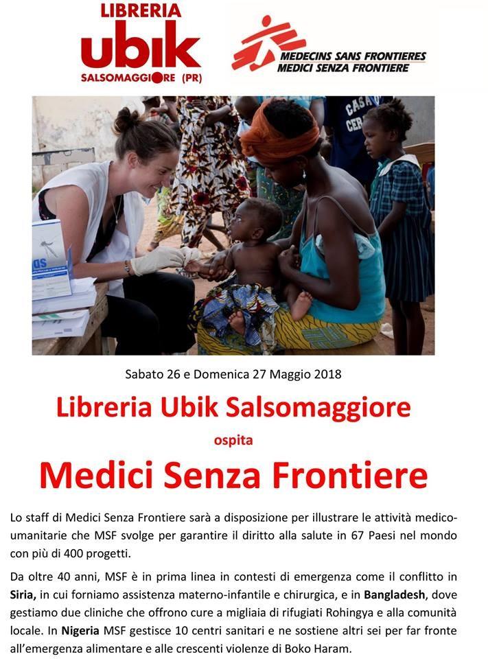 "Alla libreria Ubik incontro con ""Medici senza frontiere"""