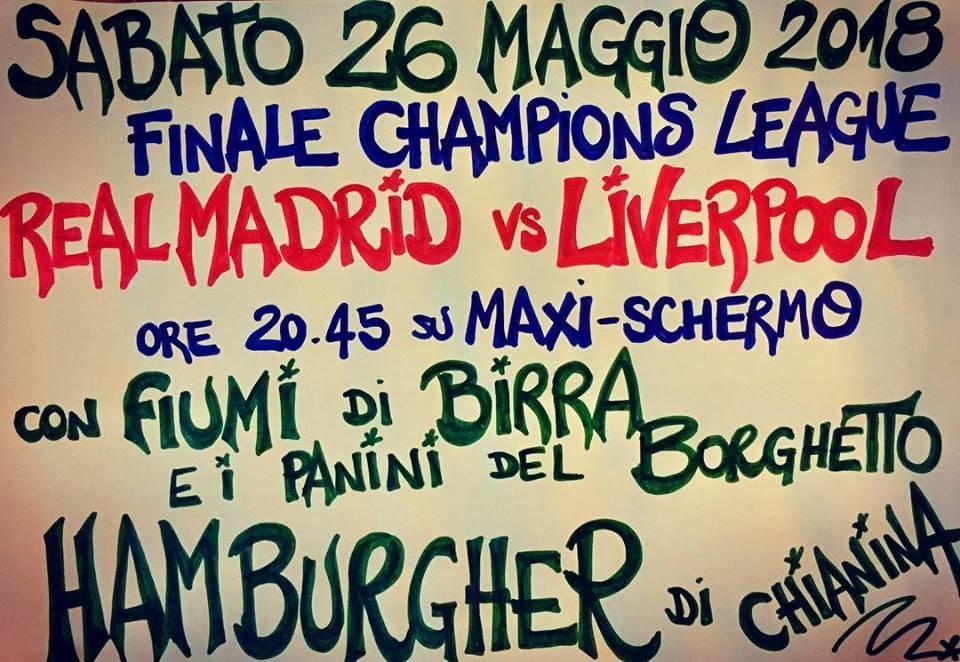 UEFA CHAMPIONS LEAGUE  REAL MADRID - LIVERPOOL all'Osteria della Posta a Borghetto