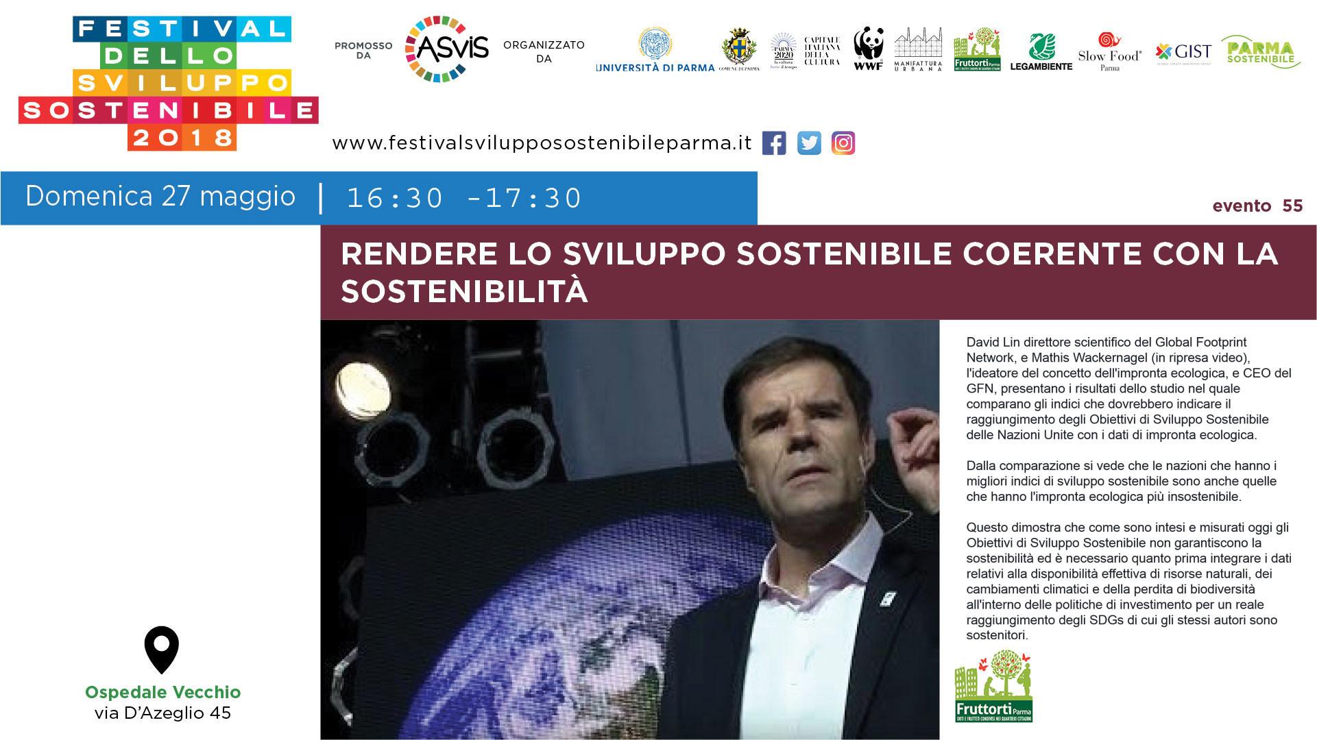 Festival dello Sviluppo Sostenibile Parma: Incontro sull'impronta ecologica