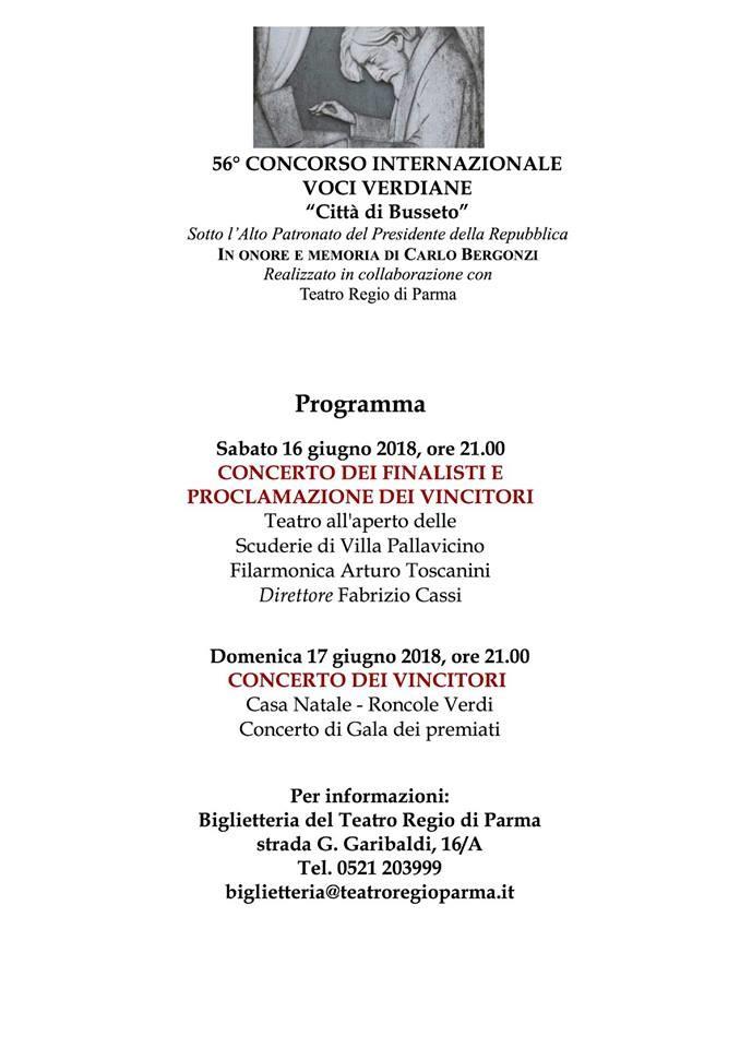 """56° concorso internazionale """"Voci Verdiane"""""""