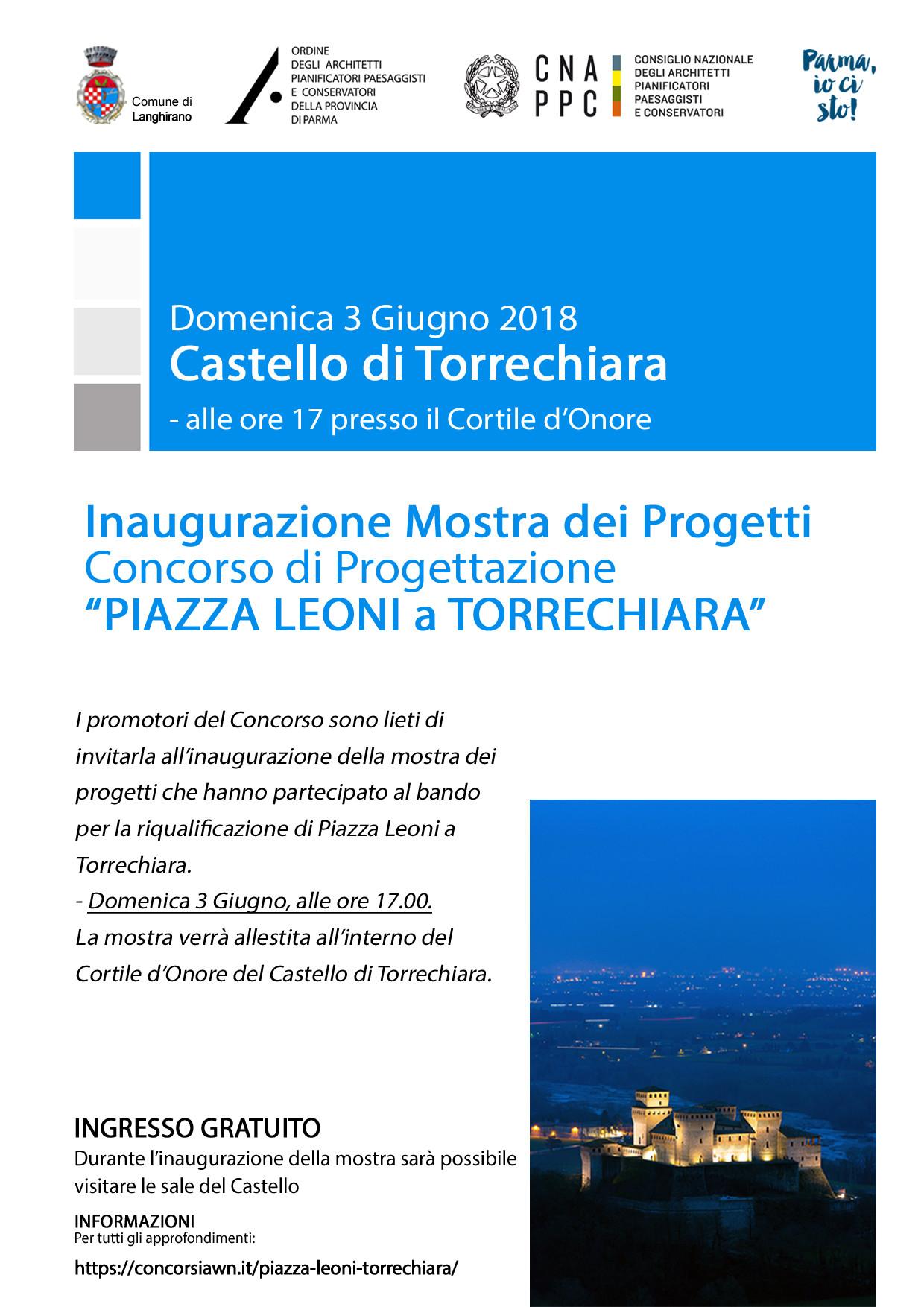 CONCORSO DI PROGETTAZIONE  PER PIAZZA LEONI A TORRECHIARA, al castello in mostra i progetti