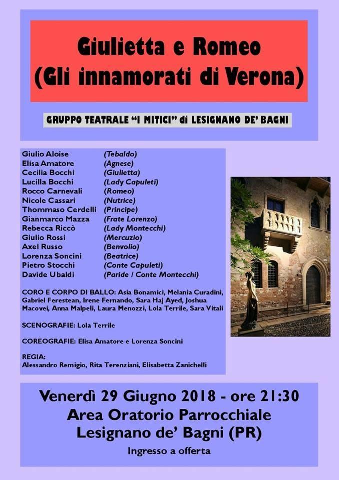 Giulietta e Romeo, spettacolo teatrale a Lesignano