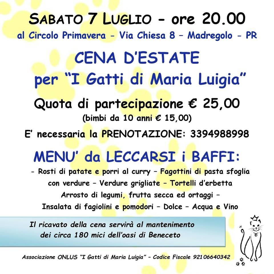"""Cena d'estate  a favore de """"I gatti di Maria Luigia"""""""
