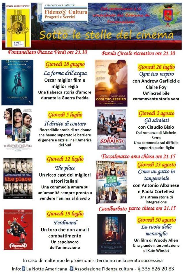 Il grande cinema estivo sotto le stelle torna a Fontanellato