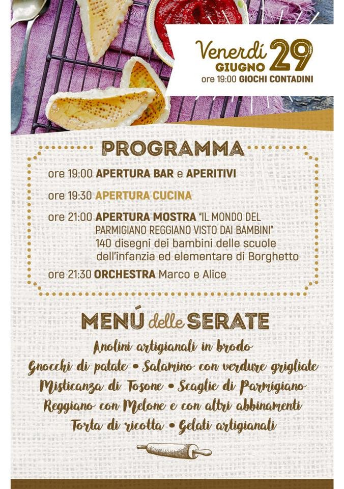 2^ festa di SAN LUCIO - Sagra del PARMIGIANO REGGIANO programma del 29
