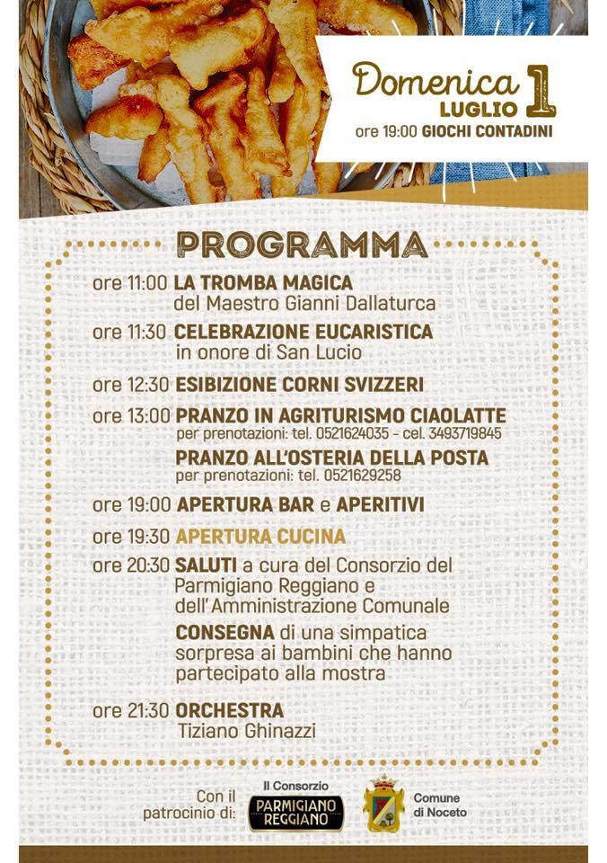2^ festa di SAN LUCIO - Sagra del PARMIGIANO REGGIANO programma del primo luglio