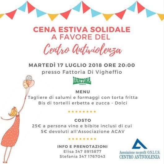 Cena solidale a favore del Centro Antiviolenza di Parma