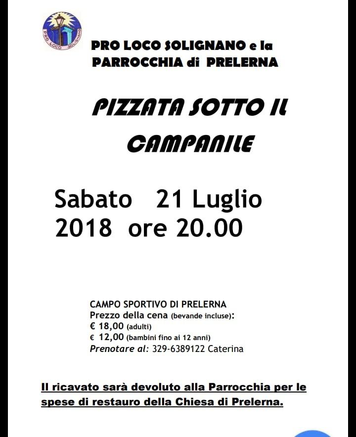 PIZZATA A PRELERNA! INCASSO DEVOLUTO ALLE SPESE DI RESTAURO DELLA CHIESA!