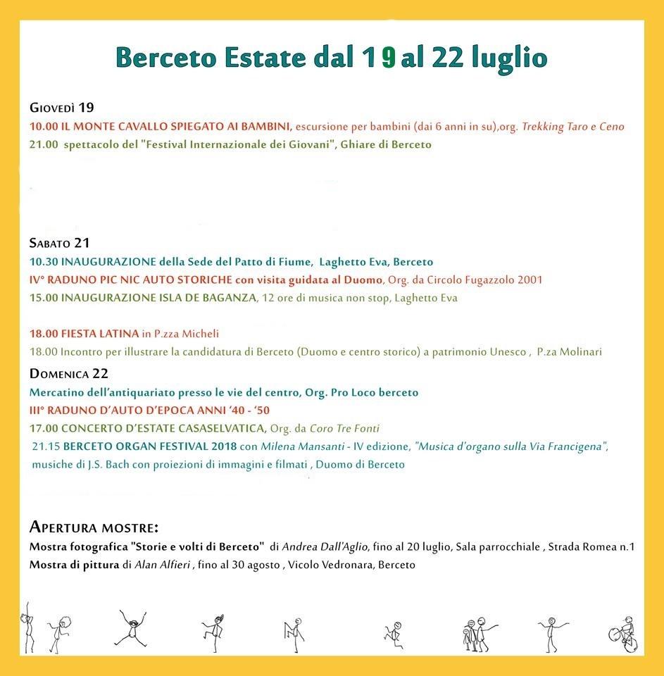EVENTI BERCETO DAL 19 AL 22 LUGLIO
