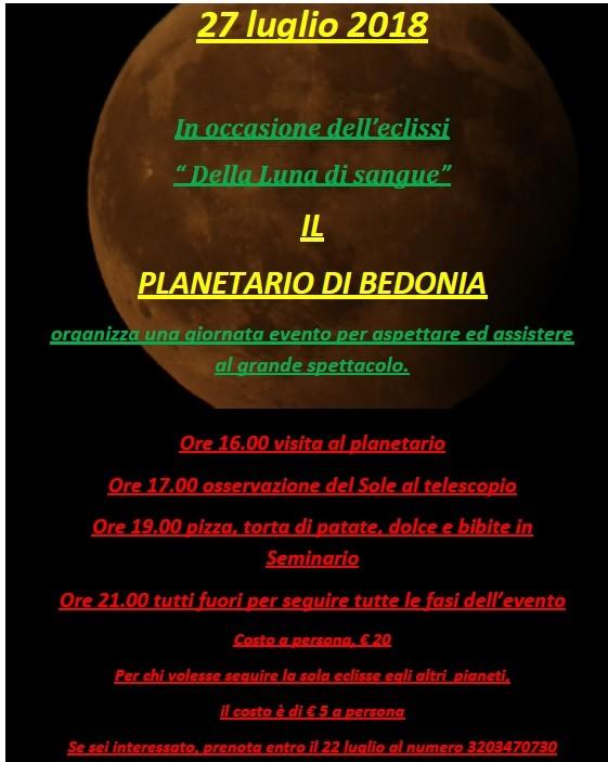 """Eclissi """"Della luna di sangue"""" vista dal planetario di Bedonia"""