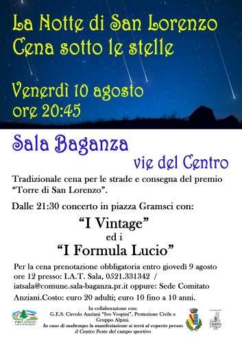 -Cena sotto le stelle Concerto con The vintage e I Formula Lucio