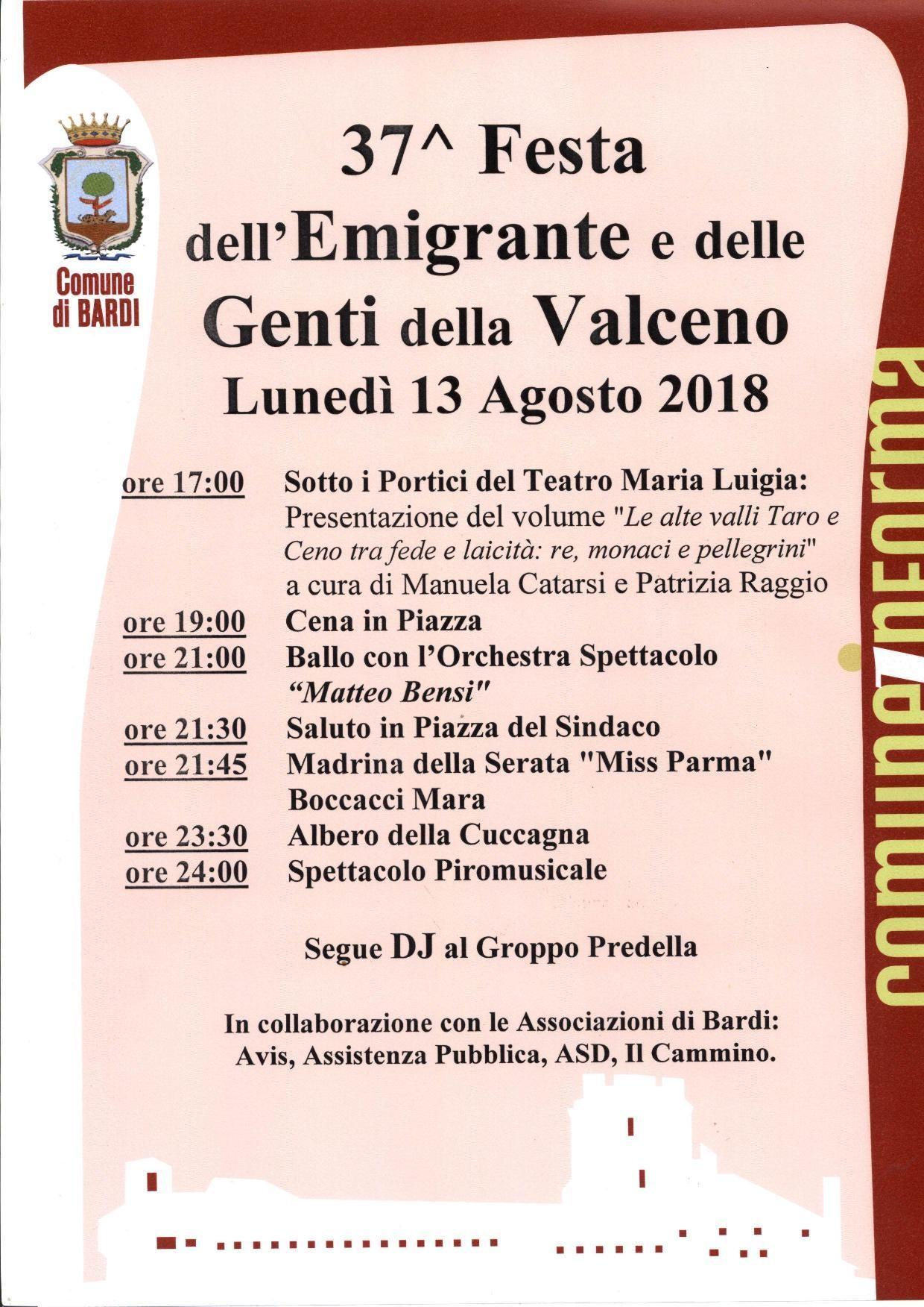 37^ FESTA DELL'EMIGRANTE E DELLE GENTI DELLA VALCENO