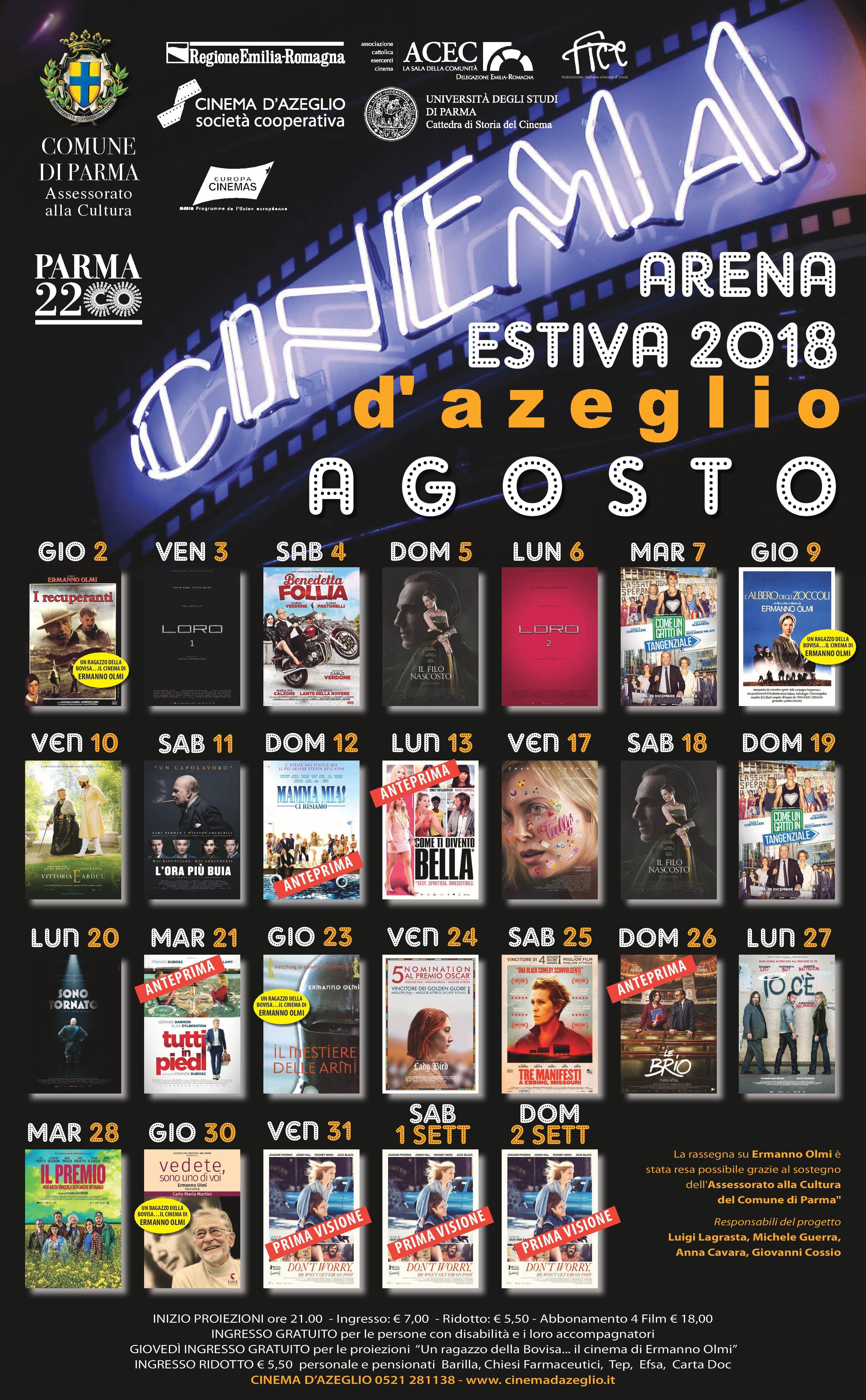 ARENA ESTIVA D'AZEGLIO-PARMA programma agosto