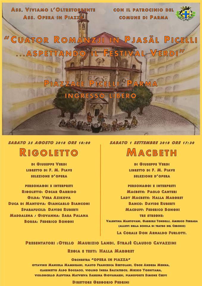 """3° edizione di """"Quator romansji in Piazzale Picelli....Aspettando il Festival Verdi"""""""